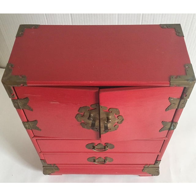 Vintage Red Lacquer Tansu Chest Jewelry Box - Image 9 of 11