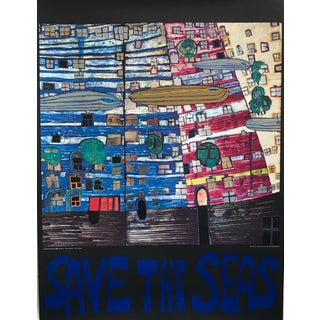1978 Original Hundertwasser Exhibition Poster - Save the Seas For Sale