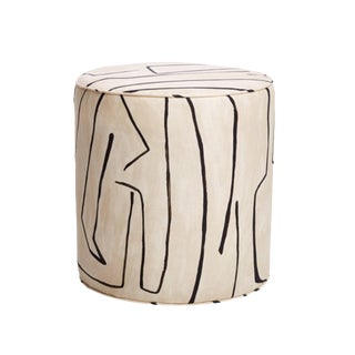Upholstered Graffito Groundworks Print Stool Ottoman