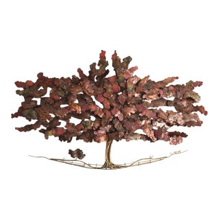 Brass and Copper Tree Wall Sculpture by C. Hess For Sale