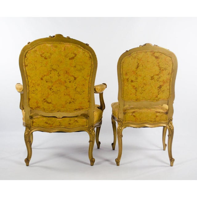 Early 20th C. French Louis XV Style Carved Giltwood Side Chairs - A Pair For Sale - Image 12 of 13