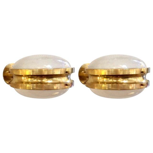 Pair of Mid Century Modern Sergio Mazza 'Gamma' Artemide Brass Sconces For Sale