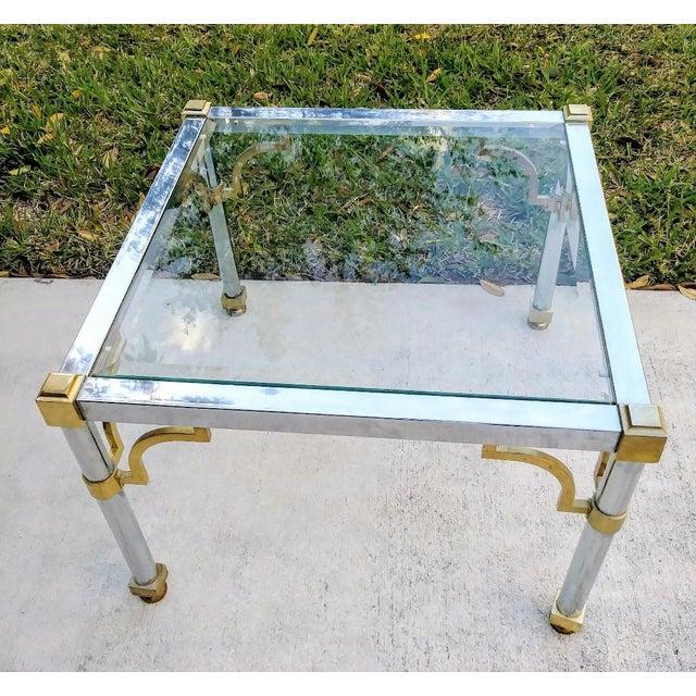 Mastercraft Master Craft Vintage Brass Chrome Fret Work Corner Glass Top End Side Table For Sale - Image 4 of 6