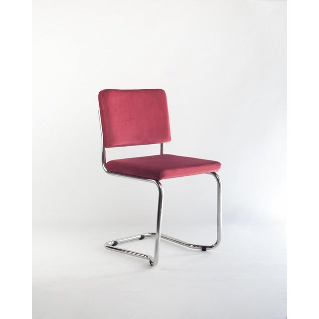 New Set of Six Stackable Dining Chairs in Sweet Pink Velvet & Chrome Steel For Sale - Image 4 of 12