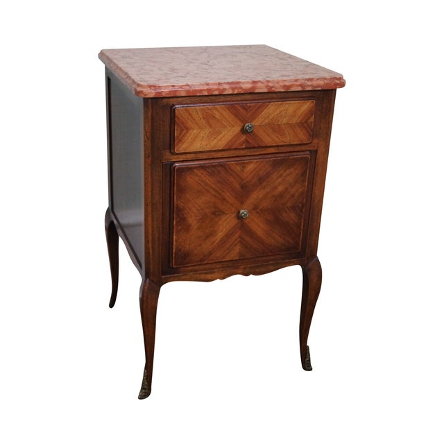Antique Louis XV Walnut Marble Top Nightstand - Image 1 of 10