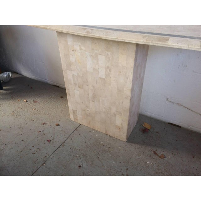 Hollywood Regency Maitland-Smith Tessellated Fossil Console Table For Sale - Image 3 of 11