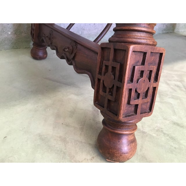 18th Spanish Refectory Desk Table With Solomonic Legs and Iron Stretcher For Sale - Image 11 of 13