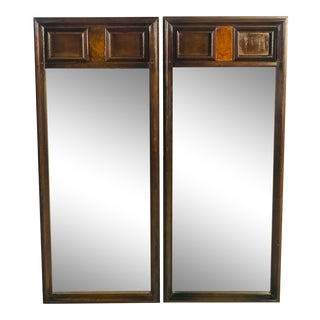 1960s Burlwood Style Wall Mirrors, Pair For Sale