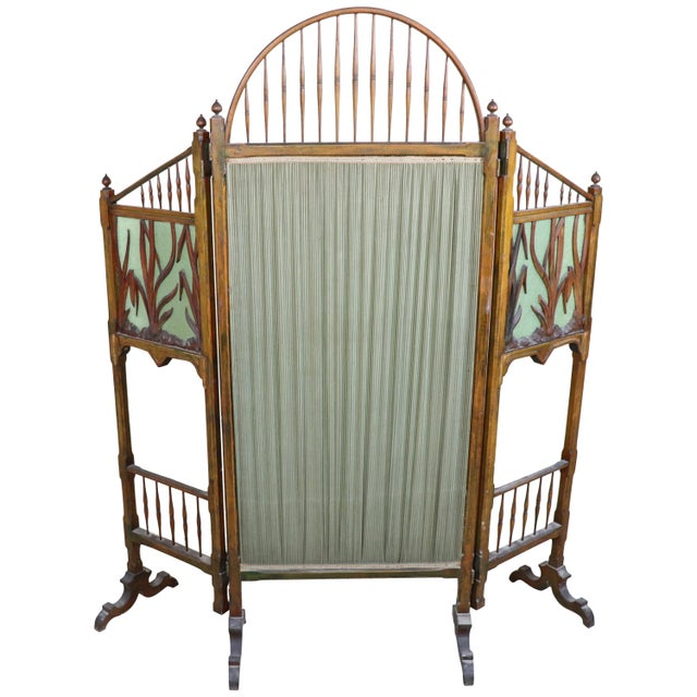 20th Century French Art Nouveau in Wood Colored Glass and Fabric Screen For Sale - Image 11 of 11