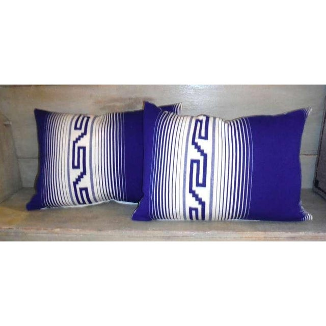 Native American Pair of Mexican Indian Tex Coco Weaving Bolster Pillows For Sale - Image 3 of 4