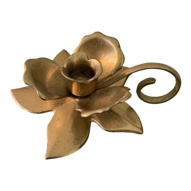 Modernist Brass Floral Candlestick Holder With Handle For Sale