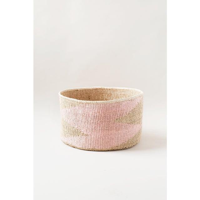 African Pink Banana Floor Leaf Basket For Sale - Image 3 of 3