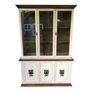 Stained Walnut China Hutch For Sale