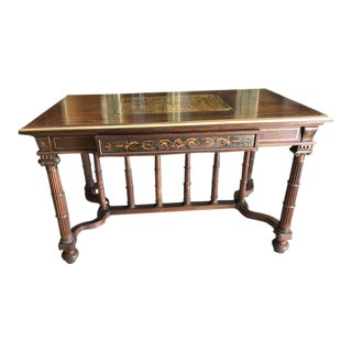 Antique French Walnut and Brass Single Drawer Writing Desk Turned Legs