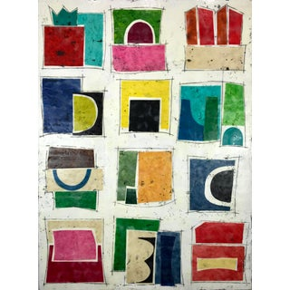 """Twelve Sides to Every Story"" Encaustic Collage Painting by Gina Cochran For Sale"
