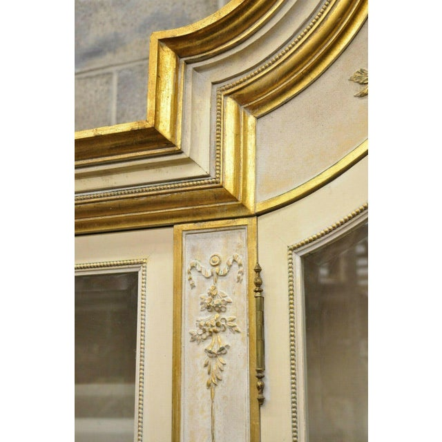 Italian Regency Cream and Gold Gilt Breakfront China Cabinet For Sale - Image 11 of 13