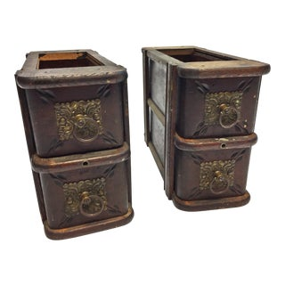 Vintage Wood Sewing Machine Cabinet Drawers - Set of 2
