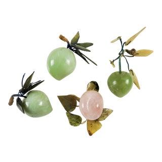 Rose Quartz & Jadite Carved Stone Fruit - Set of 4