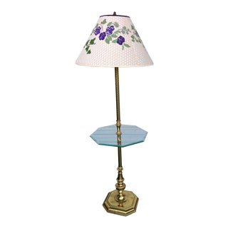 Stiffel Brass Floor Lamp With Glass Table For Sale