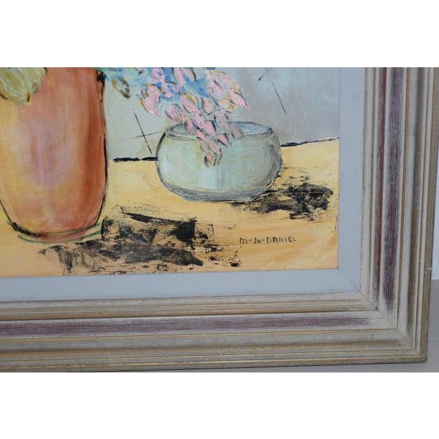 "Marguerite Daniel ""Floral Still Life"" Original Oil Painting C.1960s For Sale - Image 4 of 8"