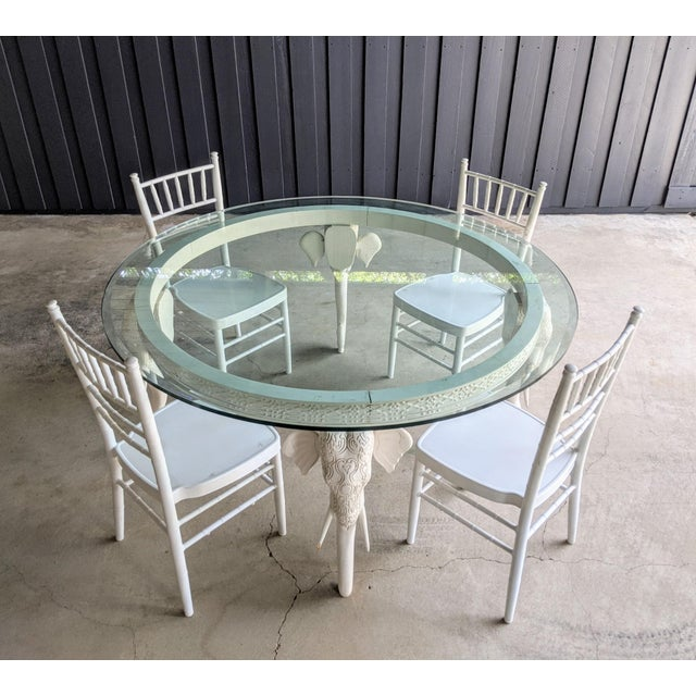 "Mid-Century Modern Gampel-Stoll Style Lacquered Elephant Round Dining Table 60"" Diameter For Sale - Image 3 of 10"