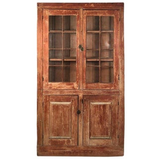 19th Century New England Country Corner Cupboard C. 1840 For Sale