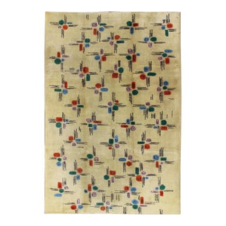 Mid-Century Modern Rug With All-Over Blossom Pattern on Cream Field For Sale
