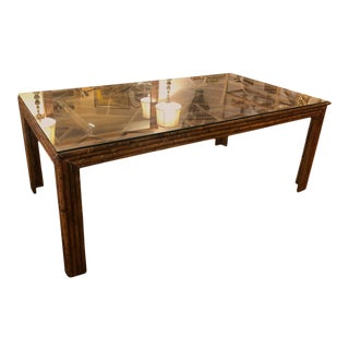Mid Century Bamboo and Glass Dining Table For Sale