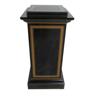 Modern Maitland Smith Black Ebonized Lamp End Table For Sale