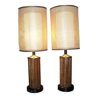 Mid-Century Modern Rattan Wicker Cane Shade Wood & Metal Lamps - a Pair