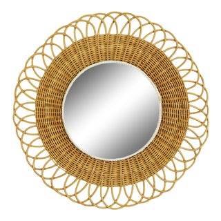 1960s French Rattan Flower Mirror For Sale