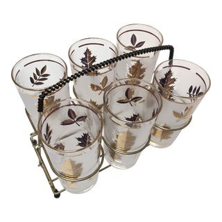 Set of Six Mid-Century Libbey Highball Glasses in Brass Cart