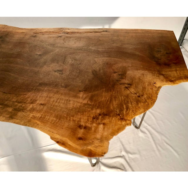 Contemporary Claro Walnut Slab Console or Desk For Sale - Image 3 of 7