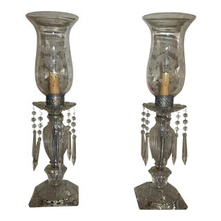 1920s Boudier Antique Glass Luster Lamps Mantle Crystal Prisms - a Pair For Sale