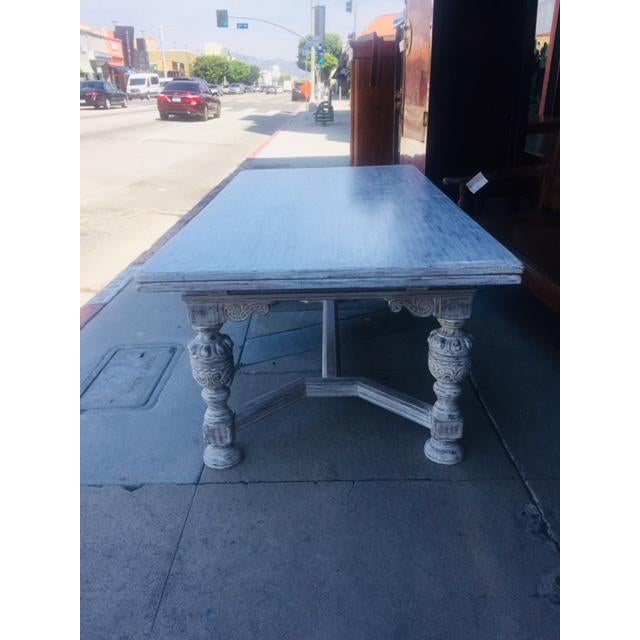 Transitional Vintage Carved Wood Refectory Table With Sliding Leaves For Sale - Image 3 of 13