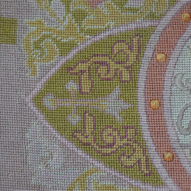 Lathe 19th Century Wool Needlepoint Panel With Lady and Cheetah For Sale - Image 9 of 13