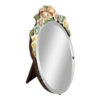 Early English Barbola Table Mirror For Sale