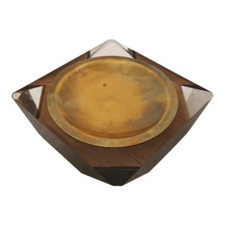 MCM Lucite Amber Smokey Ashtray With Brass Lining Plate For Sale