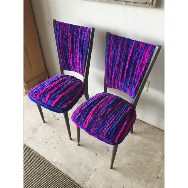 Vintage 1960s Furry Striped Accent Chairs - A Pair - Image 4 of 10