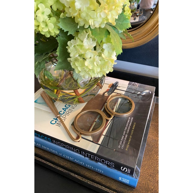 These Lorgnette-style, oversized magnifying glasses in antique brass would make even Mr. Potato Head be considered a...