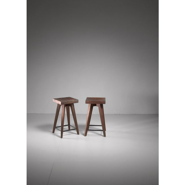 Mid-Century Modern Pair of Christian Durupt stools from Meribel, France, 1950s For Sale - Image 3 of 5