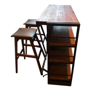 Industrial Wood/Metal Bar / Book Case & Bar Stools For Sale