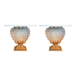 Maison Jansen Shell Form White & Gilt Demi-Lune Console Tables - A Pair