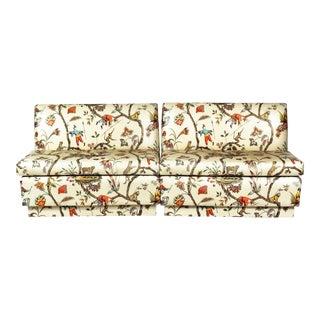 Brunschwig & Fils Vintage Chinoiserie Glazed Cotton Chintz Banquettes - a Pair