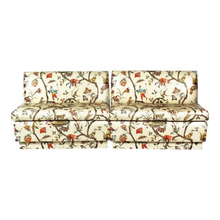 Last Call Brunschwig & Fils Vintage Chinoiserie Glazed Cotton Chintz Banquettes - a Pair