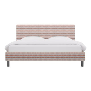 King Tailored Platform Bed in Grey Geo For Sale