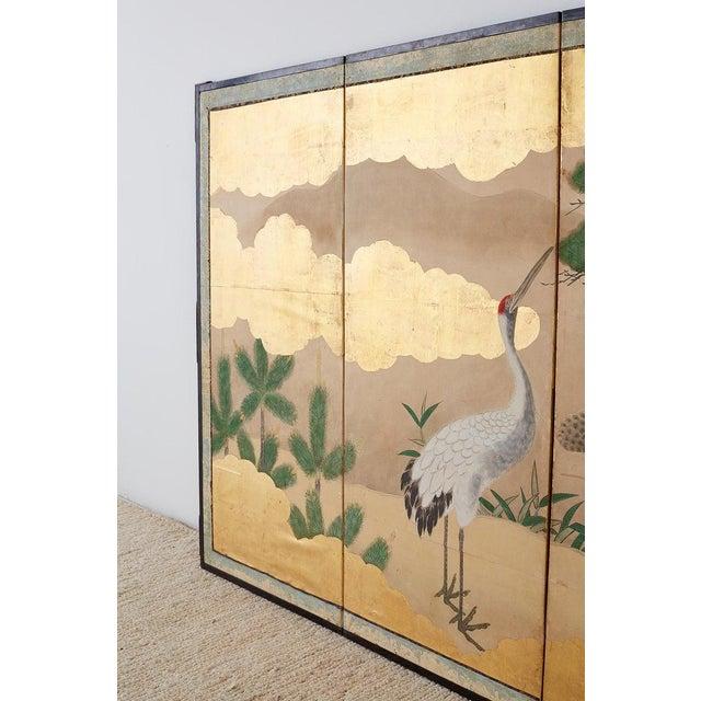 Pair of Japanese Six Panel Meiji Crane Landscape Screens For Sale - Image 10 of 13