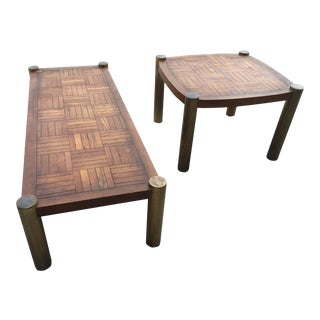 1970s Mid-Century Modern Lane Brass & Parquet Motif Coffee Tables - a Pair For Sale