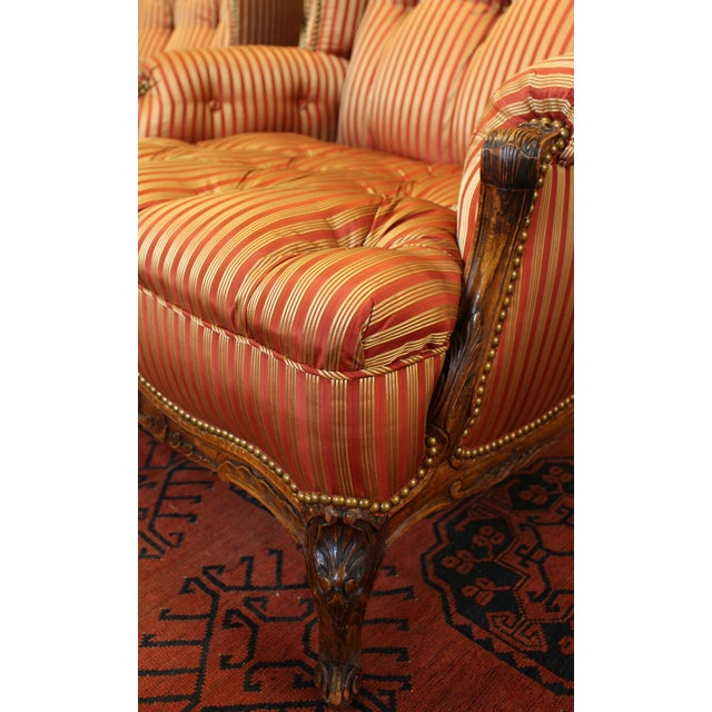 Wood C. 1900 French Louis XV Bergere Chairs - a Pair For Sale - Image 7 of 10