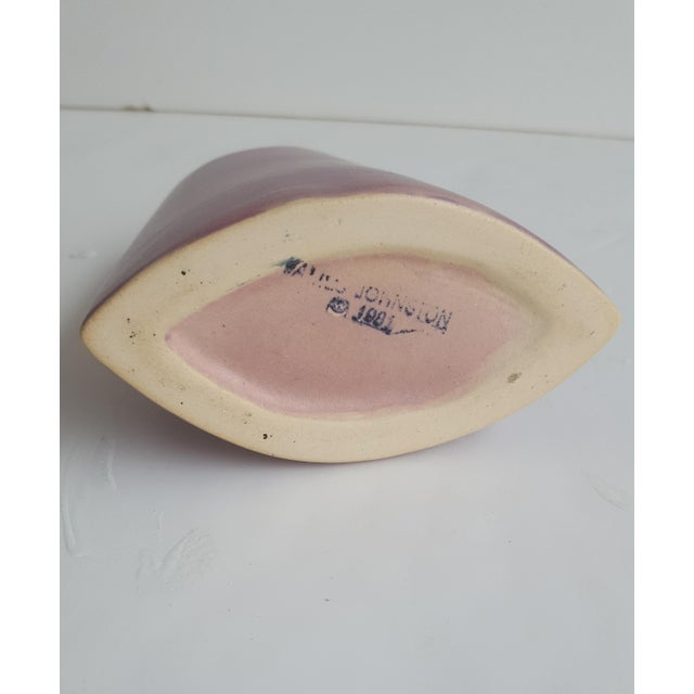 Pink J. Johnston Modernist Mauve Pink Ceramic Pottery Vase For Sale - Image 8 of 11